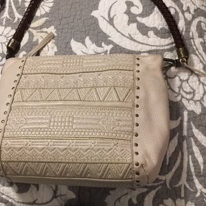 The Sak ivory leather w/gold embroidery bag. NWOT